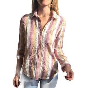 Pastel Stripe Button-up Cotton Flannel Shirt